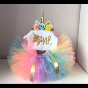 Other - 1st BIRTHDAY UNICORN TUTU SET NEW